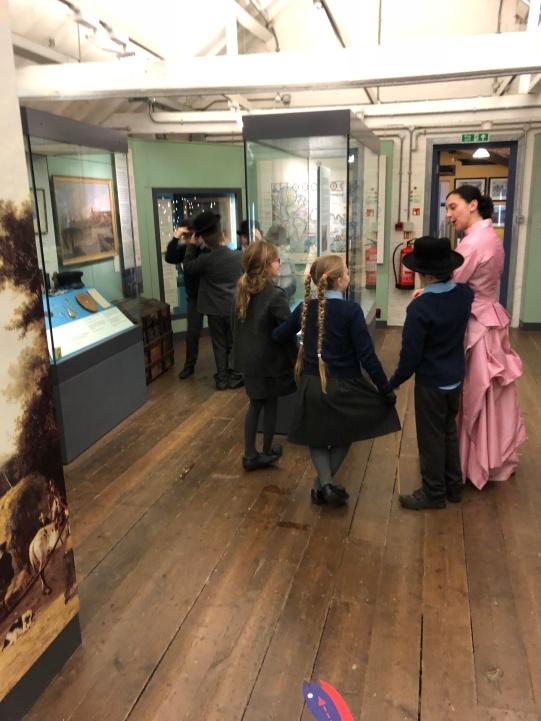 Promenading around the museum displays.